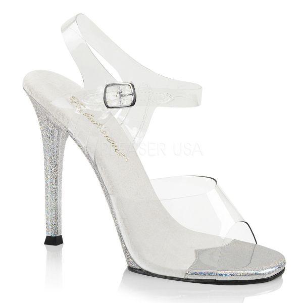 Durchsichtige Sandalette mit Mini Glitter besetztem High Heel Absatz Gala-08MG